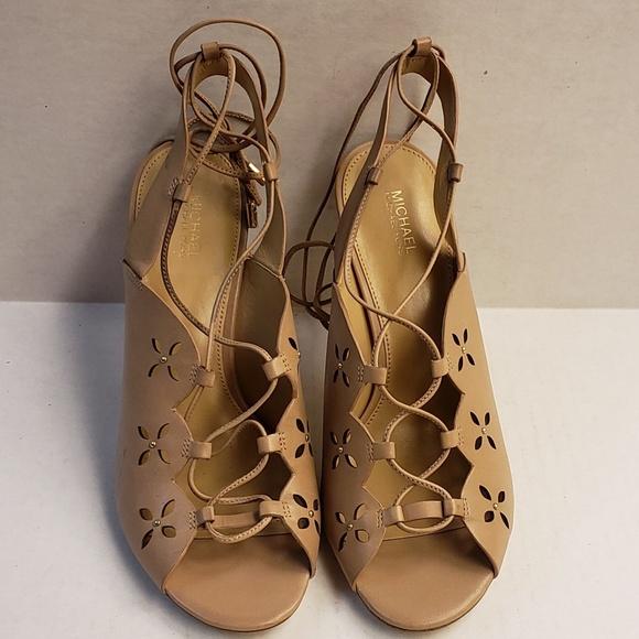 Michael Kors Shoes - Michael Kors Beige Leather Lace up Heels  NWOT